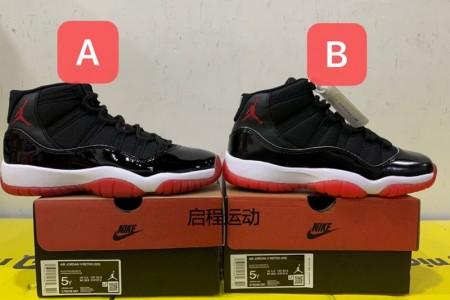 莆田鞋市场aj11黑红女鞋378038-061版本对比